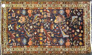 Two semi-antique Hamadan mats.