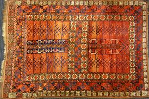 Karadja throw rug, ca. 1920, together with a Hamad
