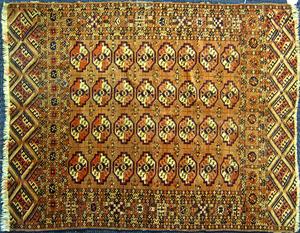 Three semi-antique Turkoman mats, largest - 4' x 3