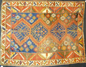 Kazak throw rug, ca. 1920, together with 2 other t