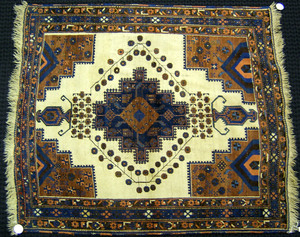 Afshar throw rug, ca. 1920, with central medallion
