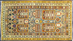 Shirvan throw rug, ca. 1910, with a blue field and