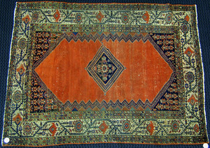 Malayer throw rug, ca. 1910, with central medallio