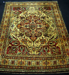 Roomsize Kirman rug, ca. 1900, with overall floral