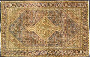 Malayer throw rug, ca. 1920, the central medallion