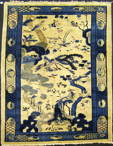 Pair of semi-antique Chinese long rugs, each withi