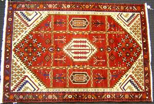 Contemporary Shiraz throw rug, 6'5