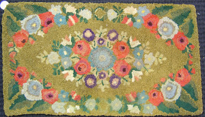 Four hooked rugs, early 20th c., with floral decor