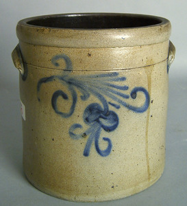 Two gallon stoneware crock, 19th c., with two-side