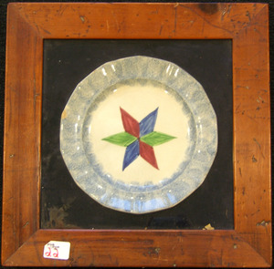 Framed blue spatter plate with star, 9 1/2