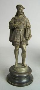 White metal sculpture of a 16th c. gentleman, 14