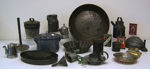 Group of tin table articles, late 19th/early 20th.