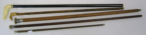 Group of 5 carved canes, late 19th/20th c., two wi