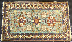 Lesghi Star Shirvan rug, ca. 1940, with 3 medallio