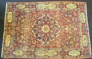 Ferraghan Sarouk throw rug, ca. 1900, with central