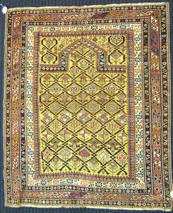 Daghestan prayer rug, ca. 1900, with mustard mihra
