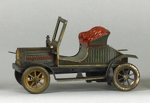 German painted tin roadster, early 20th c., 9