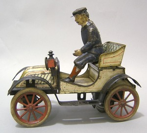 Carette painted tin roadster, early 20th c., 10 1/