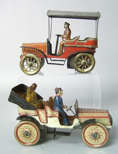 Two German painted tin cars, early 20th c., 6 1/2