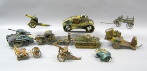 Miscellaneous group of tin and iron military toyso