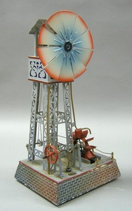 Painted tin doll windmill, early 20th c., 15