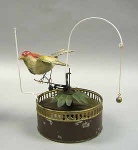 German painted tin mechanical bird, ca. 1900, 9