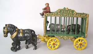1920 Hubley cast iron Royal Circus animal cage wit