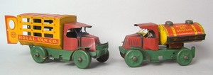 Two Marx painted tin Mac trucks, ca. 1930's, to in