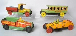 Four Cheim painted tin automotive toys, 1930's, 9