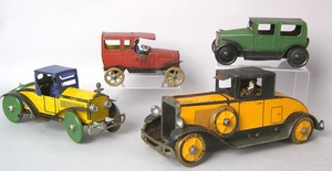 Four painted tin cars, 1920's/1930's to include