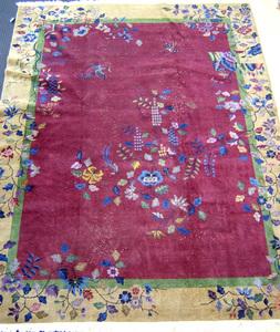 Roomsize Chinese rug, ca. 1960, 12' x 9'.