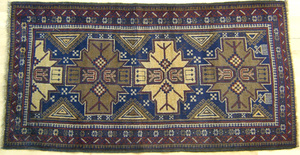 Kurdish Kazak throw rug, ca. 1935, 6'8