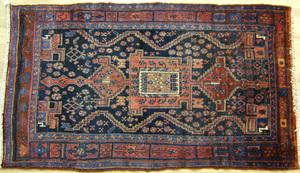 Shiraz throw rug, ca. 1940, 7' x 4'1