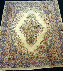 Roomsize Kirman rug, ca. 1950, 8' x 10'
