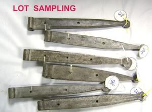 Twenty-three pair of wrought iron strap hinges, la