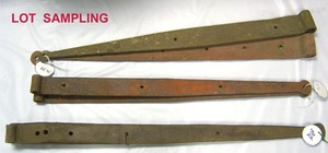 Nineteen pair of wrought iron strap hinges, late 1