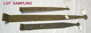 Seventeen pair of wrought iron strap hinges, late8