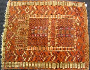 Turkomen throw rug, ca. 1930, with geometric desig