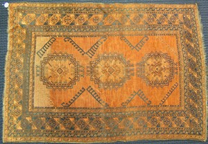 Bokhara throw rug, ca. 1910, with 3 medallions on