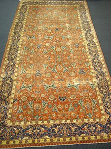 Tabriz long rug, ca. 1920, with overall floral pat
