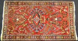 Sarouk mat, ca. 1930, with overall floral design o