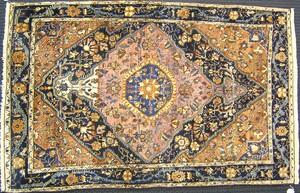 Malayer throw rug, ca. 1920, with central medallio