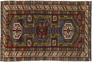 Shirvan throw rug, ca. 1900, with 3 medallions on