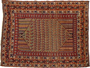 Afshar throw rug, ca. 1900, with a central medalli