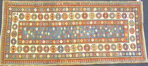 Talish throw rug, ca. 1900, with overall cross pat