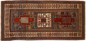 Lori Pambok throw rug, late 19th c., with 3 medall