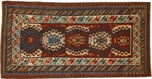 Kazak throw rug, ca. 1900, with 5 medallions on ae