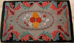 American hooked rug with raised Waldoboro floral d