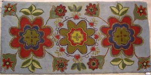 American hooked rug dated 1971 with heart & floral