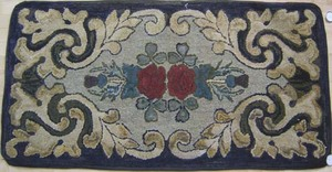 Maine floral hooked rug, ca. 1910, 52